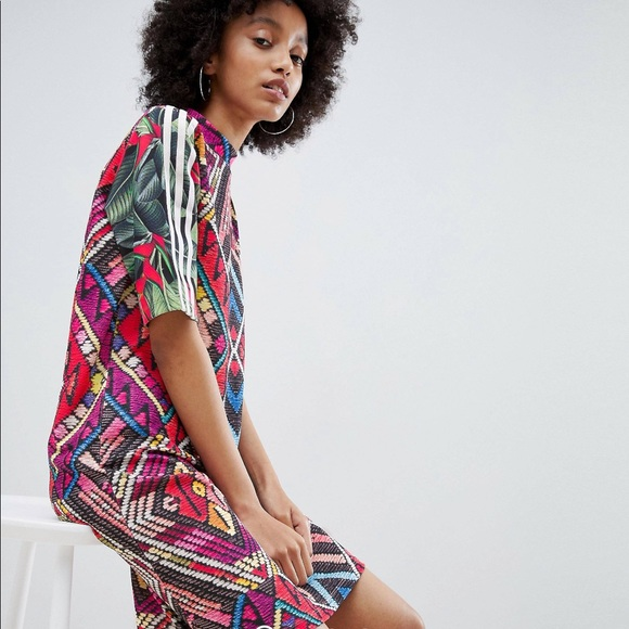 purchase cheap 1b57d b825e ADIDAS ORIGINALS | X Farm Multi Print Midi Dress